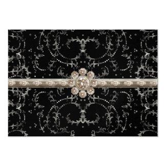 Jewel Look Silver Bling Octagonal Diamond Swirls 5x7 Paper Invitation Card
