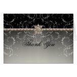 Jewel Look Silver Bling Octagonal Diamond Swirls Stationery Note Card