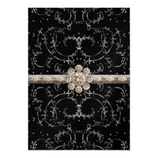Jewel Look Silver Bling Octagonal Diamond Swirls Card