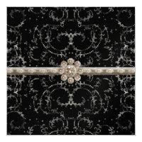 Jewel Look Silver Bling Octagonal Diamond Swirls Invitation