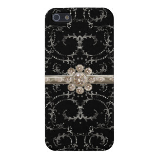 Jewel Look Silver Bling Octagonal Diamond Swirls Cases For iPhone 5