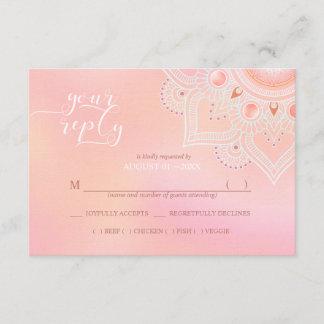 Jewel Mandala Wedding RSVP Coral ID484