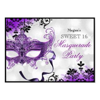 Jewel Mask & Damask Purple Masquerade Sweet 16 4.5x6.25 Paper Invitation Card