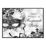 Jewel Mask & Damask Silver Masquerade Sweet 16 4.5x6.25 Paper Invitation Card
