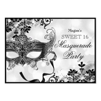 Jewel Mask & Damask Silver Masquerade Sweet 16 4.5x6.25 Paper Invitation Card