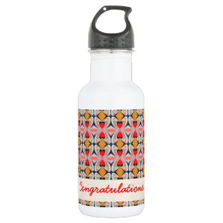 Jewel n Diamond Pattern with EDITABLE Text Stainless Steel Water Bottle