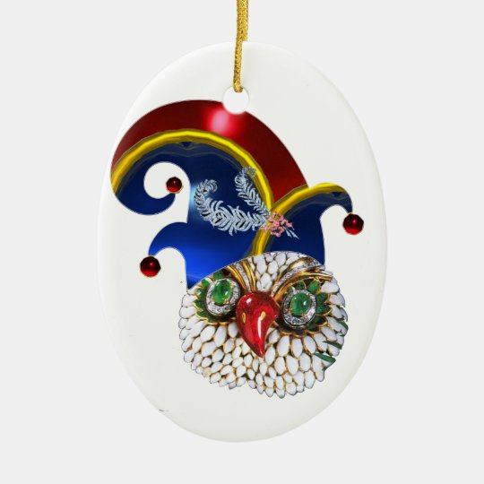 JEWEL OWL AND  ELF HAT WITH DIAMOND FEATHERS CERAMIC ORNAMENT