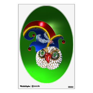 JEWEL OWL AND  ELF HAT WITH DIAMOND FEATHERS WALL DECAL