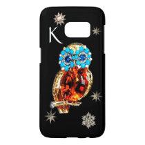 JEWEL OWL,DIAMOND STARS,Gold,Blue Turquoise,Topaz Samsung Galaxy S7 Case