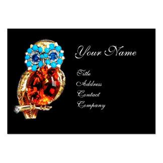 JEWEL OWL ,Gold, Blue Turquase ,Topaz Large Business Card