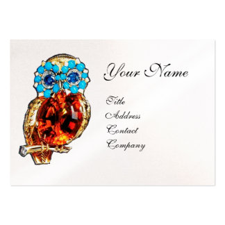 JEWEL OWL ,Gold, Blue Turquase ,Topaz White Pearl Large Business Card