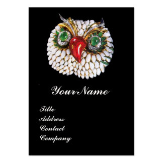 JEWEL OWL ,Gold,Green Emerald ,black white pearl Large Business Card