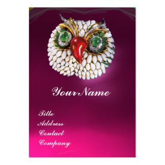 JEWEL OWL ,Gold,Green Emerald Fuchsia white pearl Large Business Card
