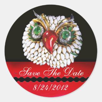 JEWEL OWL Gold,Green Emerald,opale Classic Round Sticker