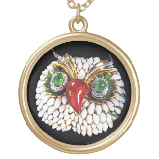 JEWEL OWL GOLD PLATED NECKLACE