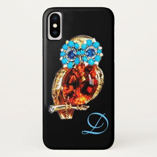 JEWEL OWL MONOGRAM Gold, Blue Turquase Topaz iPhone X Case