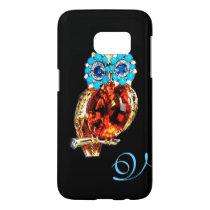 JEWEL OWL MONOGRAM Gold, Blue Turquase Topaz Samsung Galaxy S7 Case