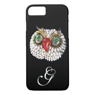 Professional Business JEWEL OWL MONOGRAM ,Gold,Green Emerald ,opale iPhone 7 Case