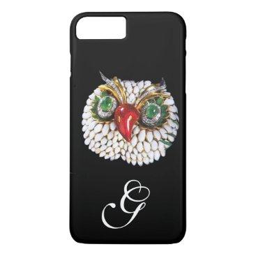 Professional Business JEWEL OWL MONOGRAM ,Gold,Green Emerald ,opale iPhone 7 Plus Case