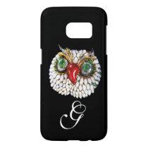 JEWEL OWL MONOGRAM ,Gold,Green Emerald ,opale Samsung Galaxy S7 Case