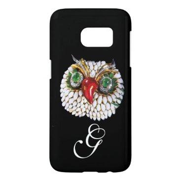 Professional Business JEWEL OWL MONOGRAM ,Gold,Green Emerald ,opale Samsung Galaxy S7 Case