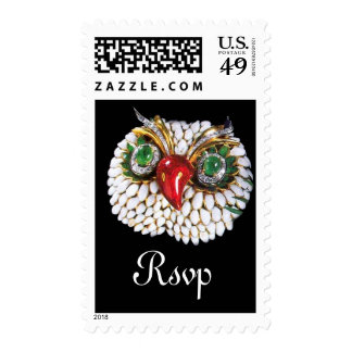JEWEL OWLGold Green Emerald Postage Stamp