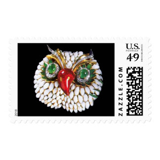 JEWEL OWLGold Green Emerald Postage