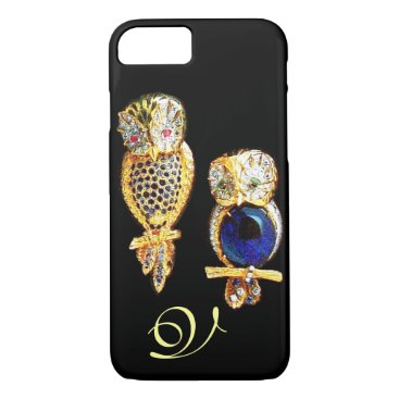 Professional Business JEWEL OWLS,Gold, Blue Sapphire ,Topaz White Pearl iPhone 7 Case