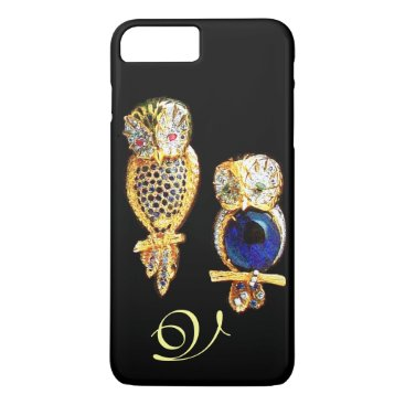 Professional Business JEWEL OWLS,Gold, Blue Sapphire ,Topaz White Pearl iPhone 7 Plus Case