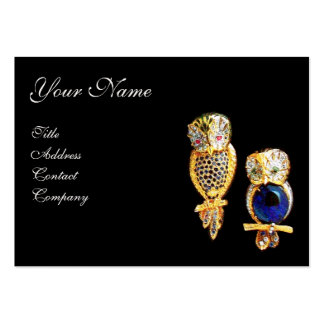 JEWEL OWLS,Gold, Blue Sapphire ,Topaz White Pearl Large Business Card