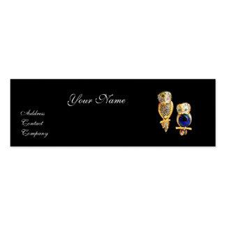 JEWEL OWLS,Gold, Blue Sapphire ,Topaz White Pearl Mini Business Card