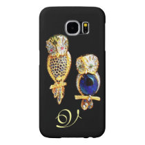 JEWEL OWLS,Gold, Blue Sapphire ,Topaz White Pearl Samsung Galaxy S6 Case