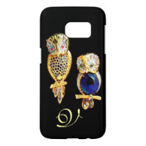 JEWEL OWLS,Gold, Blue Sapphire ,Topaz White Pearl Samsung Galaxy S7 Case
