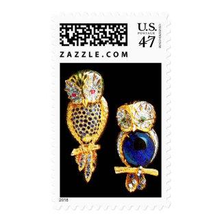 JEWEL OWLS Gold,Blue Turquase topaz Postage