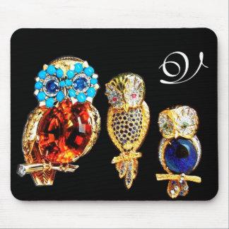 JEWEL OWLS MONOGRAM MOUSE PAD
