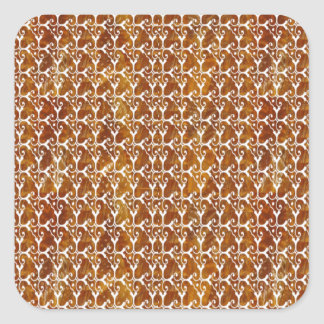 Jewel Pattern Golden Brown Theme Color Square Sticker