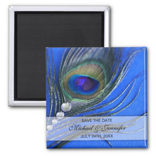 Jewel Peacock Feather Blue Save the Date Magnet
