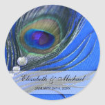 Jewel Peacock Feather Blue Wedding Favor Label Classic Round Sticker