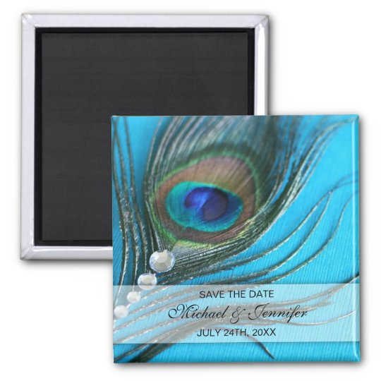 Jewel Peacock Feather Save the Date 2 Inch Square Magnet