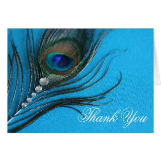 Jewel Peacock Feather Thank You Stationery Note Card