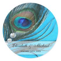 Jewel Peacock Feather Wedding Favor Label