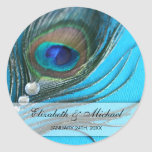 Jewel Peacock Feather Wedding Favor Label Classic Round Sticker