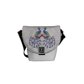 Jewel Peacocks Paisley Lace Print Messenger Bag