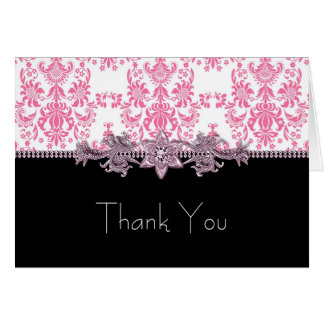 Jewel Pink Black Damask Thank You Cards