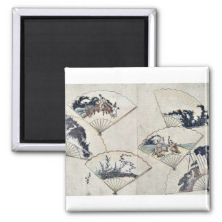 Jewel river in fan paste ups by Katsushika,Hokusai Magnets