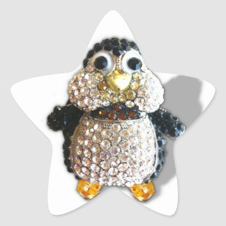 Jewel Sparkle Penguin Cute Pretty Star Sticker