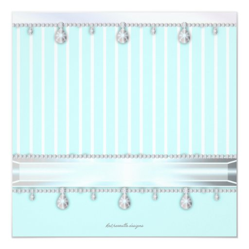 Jewel Sparkle Sweet 16 Birthday Party 5.25x5.25 Square Paper Invitation Card