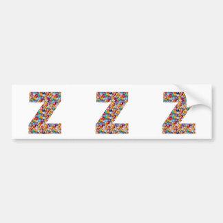 Jewel Stone Studded Alpha ZZZ z ZZ  Birthday Gifts Car Bumper Sticker