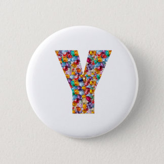 Jewel Stones Studded Alpha Y initial ID birthday Button