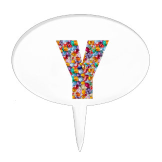 Jewel Stones Studded Alpha Y initial ID birthday Cake Topper